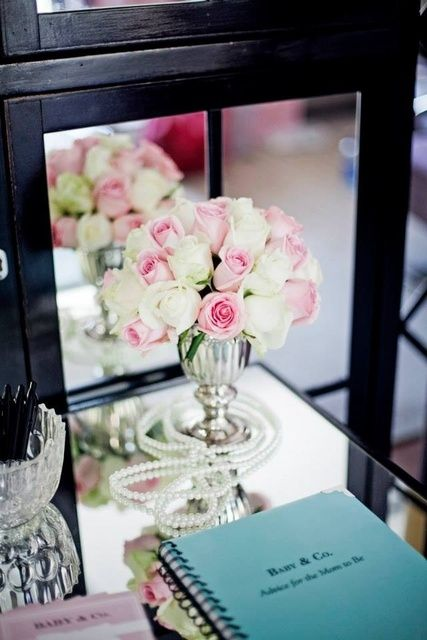 Lovely decor at a Tiffany's baby shower!  See more party ideas at CatchMyParty.com!  #partyideas #tiffanys