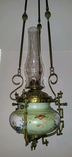 Perfect SALE Antique Handpainted Glass Brass Hanging Oil Lamp Dragonflies