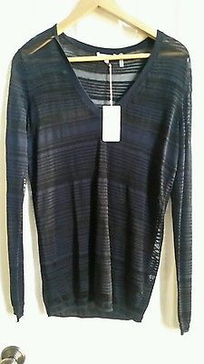 NWT $150 MINNIE ROSE Sheer Stripe V Neck Sweater Black Size M
