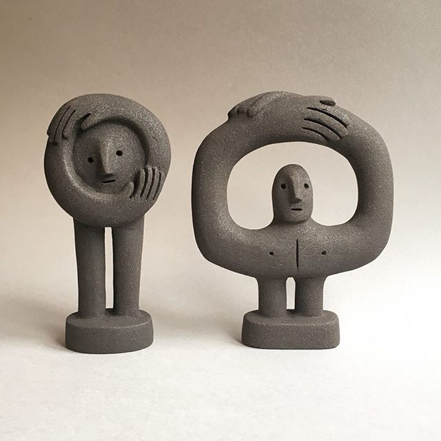 Two Figures . I'm excited to be taking part in @bouncingoffthewall the 20th Century Graphics Art Fair, on the 23rd of September at… #ceramicart