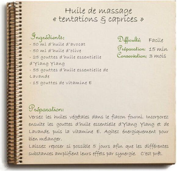 Huile de massage « tentations & caprices »