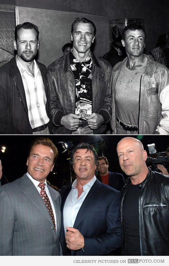 Then And Now Schwarzenegger Stallone Willis Action Movie Stars Movie Stars Sylvester Stallone
