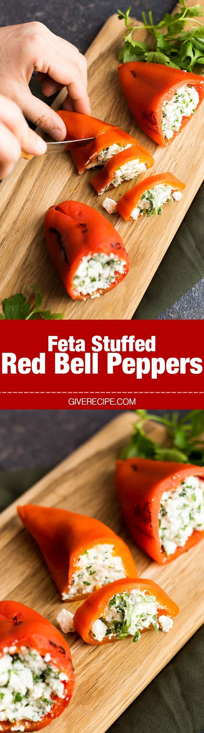 Feta Stuffed Red Bell Peppers Give Recipe Recipe Stuffed Peppers Diy Food Recipes Food