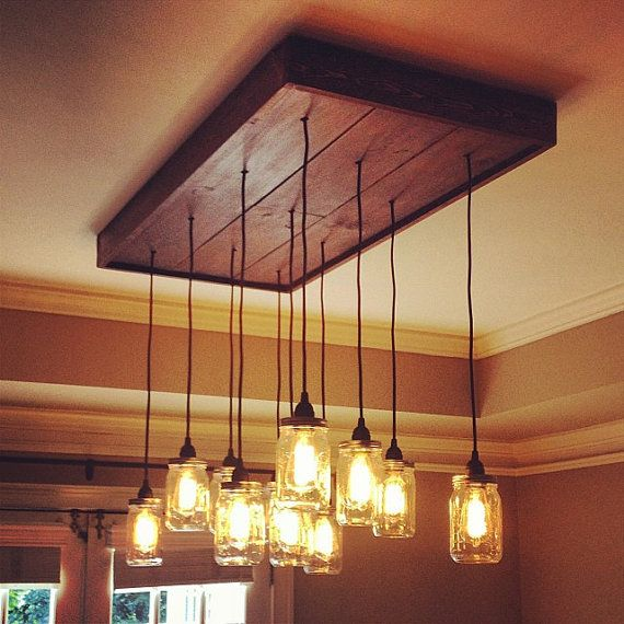 Mason Jar Chandelier Light Fixture With Vintage Edison Filament Bulbs