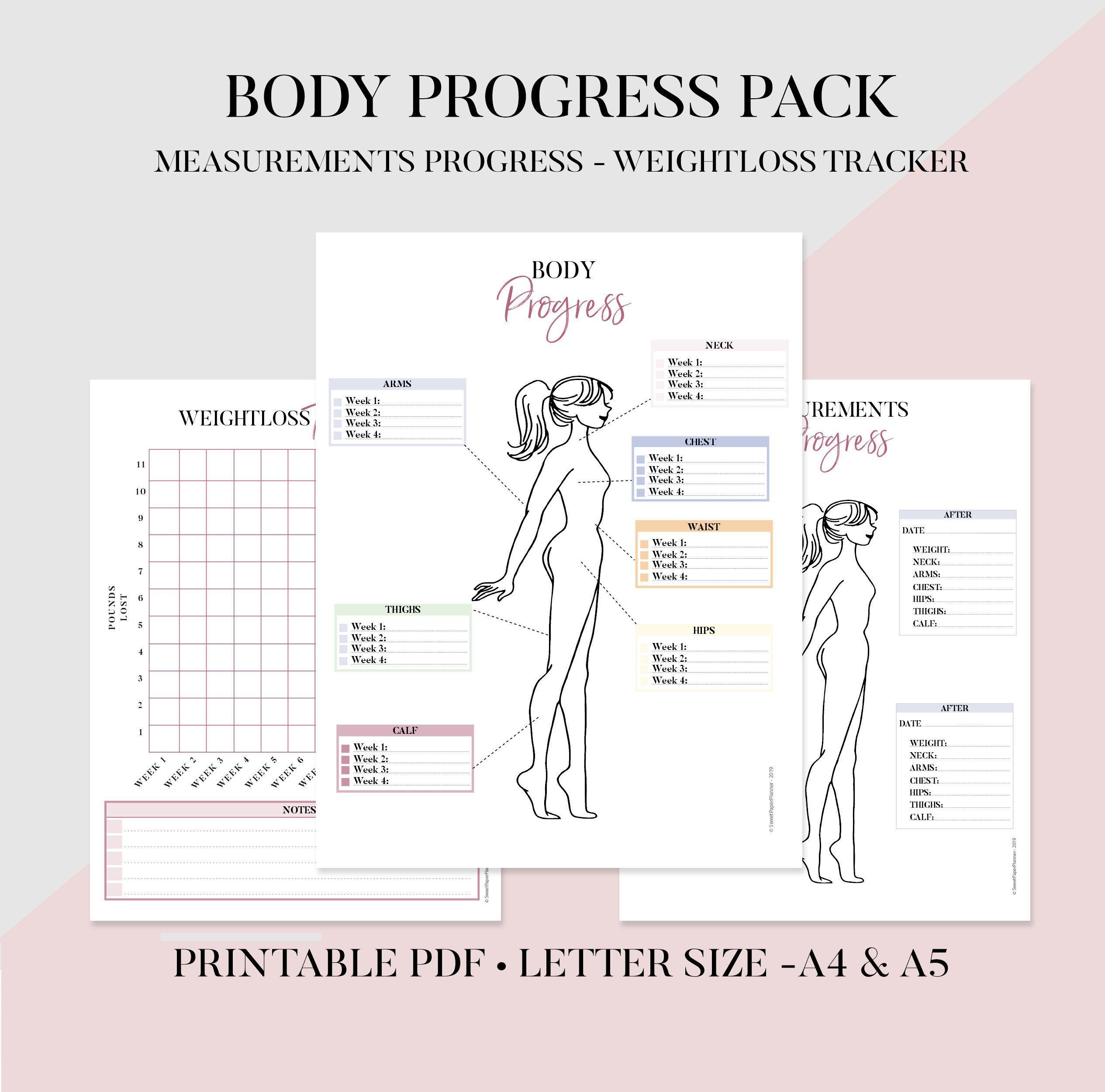 Wellness Tracker Printable, Body Log, Fitness Tracker, Body Tracker, Body Measurements Log, Weight Tracker, Fitness Tracker, Health Tracker -   15 fitness Tracker measurements ideas
