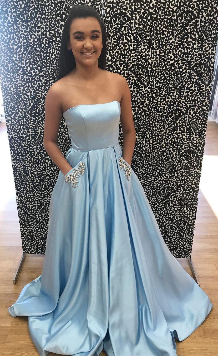 Prom Dress Strapless Blue Long Prom Dress 2018 Prom Dress Prom Dress With Pockets For Strapless Prom Dresses Long Prom Dresses Strapless Poofy Prom Dresses [ 1350 x 829 Pixel ]