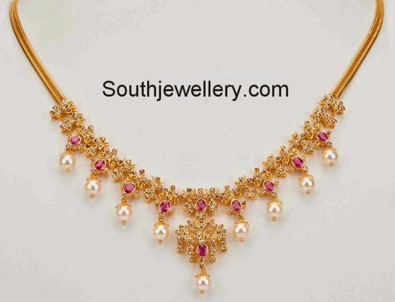 Simple 22 carat gold light weight necklace studded with uncut ...