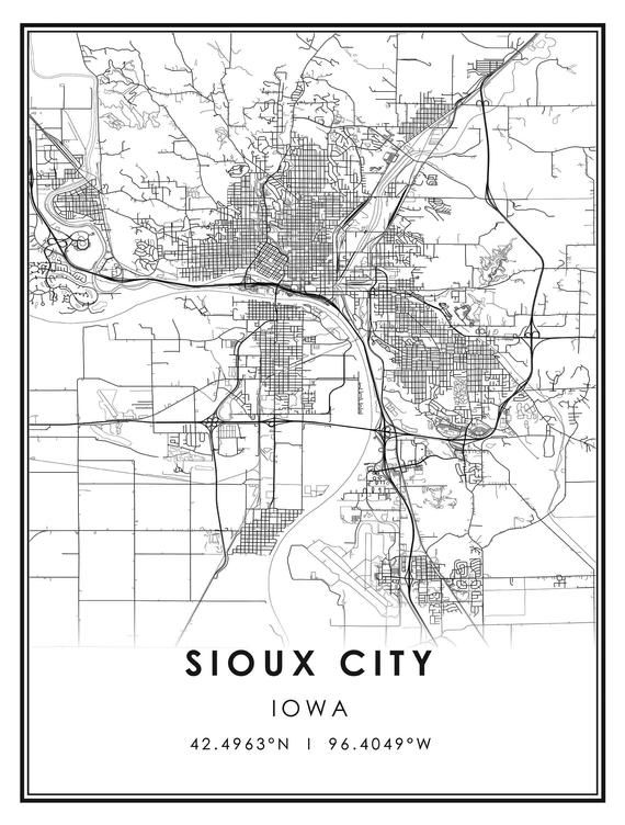 Sioux City Map Print Poster Canvas Sioux City Iowa Us City Map