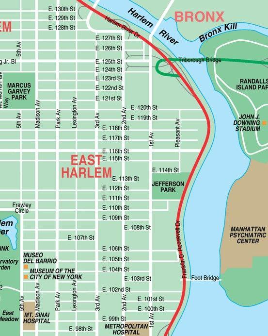 Harlem Nyc Map.East Harlem Spanish Harlem New York City Streets Map Places I Have