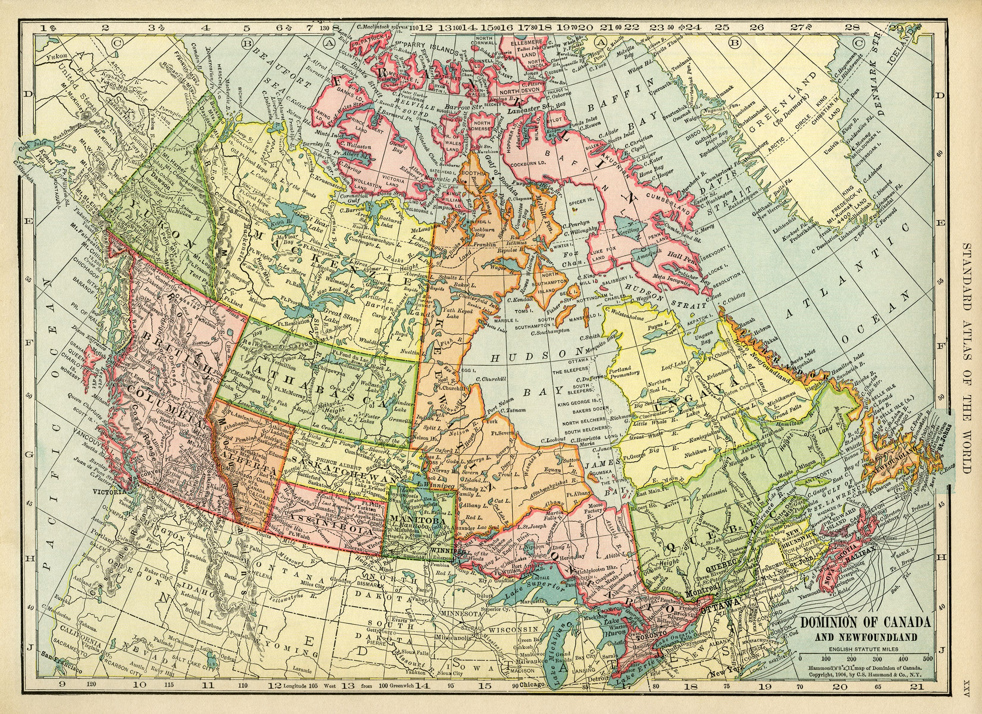 Canadian Map Vintage Map Download Antique Map Canada C S - Geography map of canada
