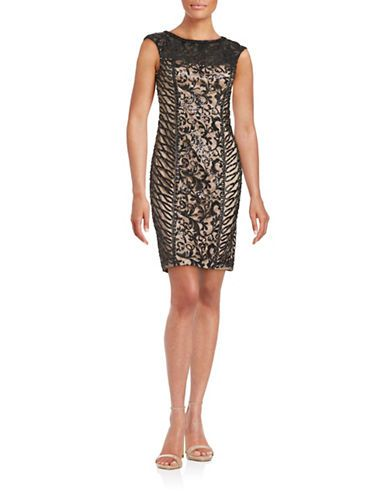 Sue Wong Sequined Illusion Sheath Dress Women's Black/Beige 2