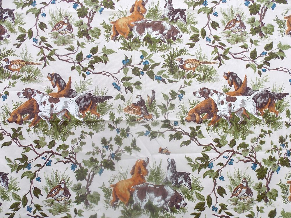 Vintage Waverly Home Decor Fabric FIELD TRIAL Hunting Dogs Pheasant Birds  3.33YD