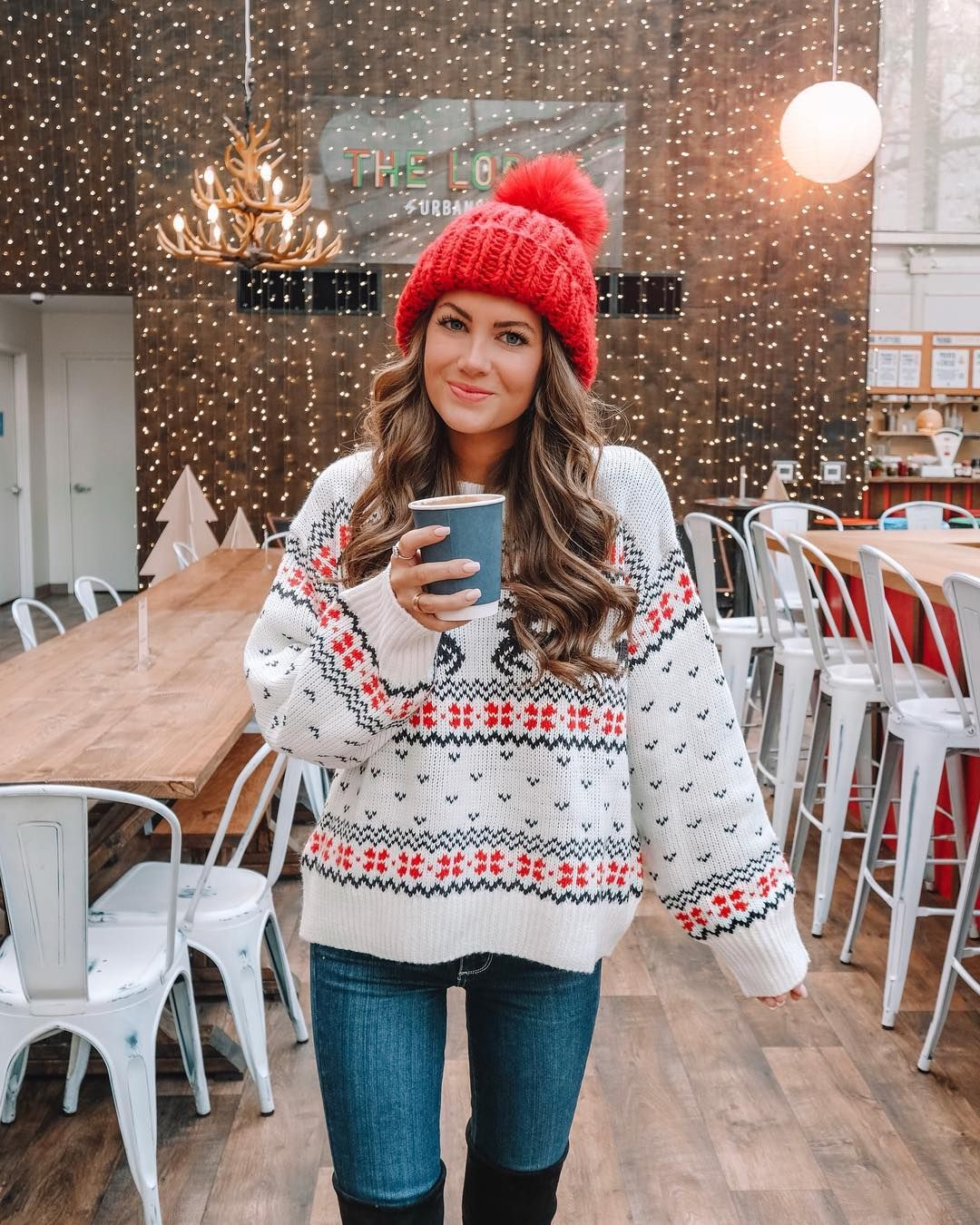 """Caitlin Covington on Instagram: """"Happy Fri-YAY! Exploring Bryant Park this morning... it's so cute all decorated for Christmas! � This festive holiday sweater is my new…"""""""