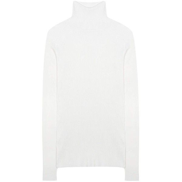 Victoria Beckham Silk and Cotton Turtleneck Sweater ($650) ❤ liked on Polyvore featuring tops, sweaters, white, silk sweater, white sweater, silk turtleneck, turtleneck sweater and turtleneck top