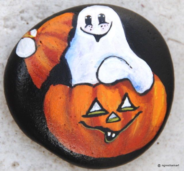handpainted rock,Halloween,Ghost,Pumpkin,holiday decor,collectible,ngreshamart