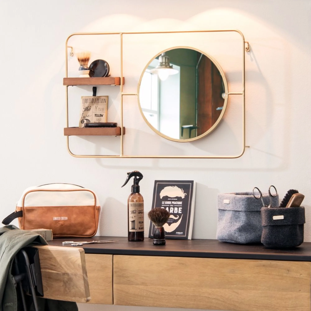 Round Gold Metal Mirror With 2 Shelves Lewis Maisons Du Monde Etagere Maison Du Monde Maison Du Monde Decoration Murale Miroir