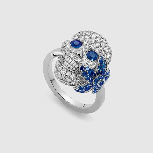 56e4128fc The Gucci Flora ring crafted in 18k white gold, set with diamonds and  sapphires.