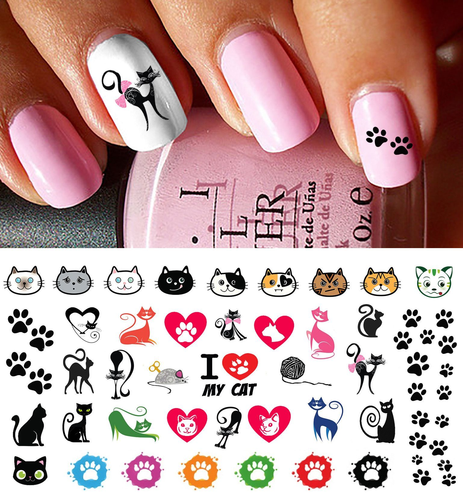 I Love My Cat Paw Prints Nail Decals - I Love My Cat Paw Prints Nail Decals Paw Print Nails, Cat Paw