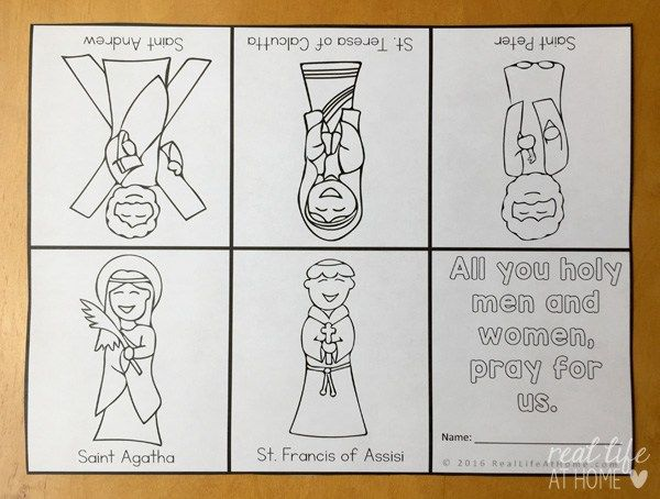 All Saints\' Day Coloring Page: Litany of Saints Mini Book   Real ...