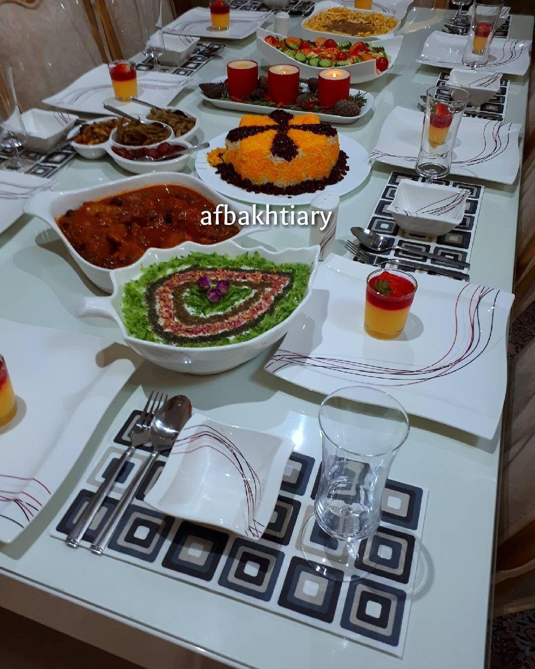 یک شب خوب با عزیزانم معمولا وقتی مهمان دارم باید به سرعت و با عجله از میز شام عکس بگیرم که غذاها سرد نشه اسم غذا ها بیف استراگانف Food Table Settings