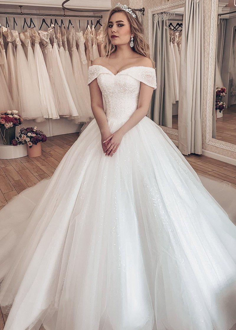 Sparkling Tulle Off The Shoulder Neckline Ball Gown Wedding Dresses With Rhinestones Ball Gowns Wedding Wedding Dresses Ball Gown Wedding Dress [ 1118 x 800 Pixel ]