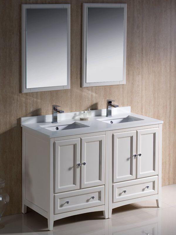 48 oxford double vanity in white finish bathroom - Small double sink bathroom vanities ...