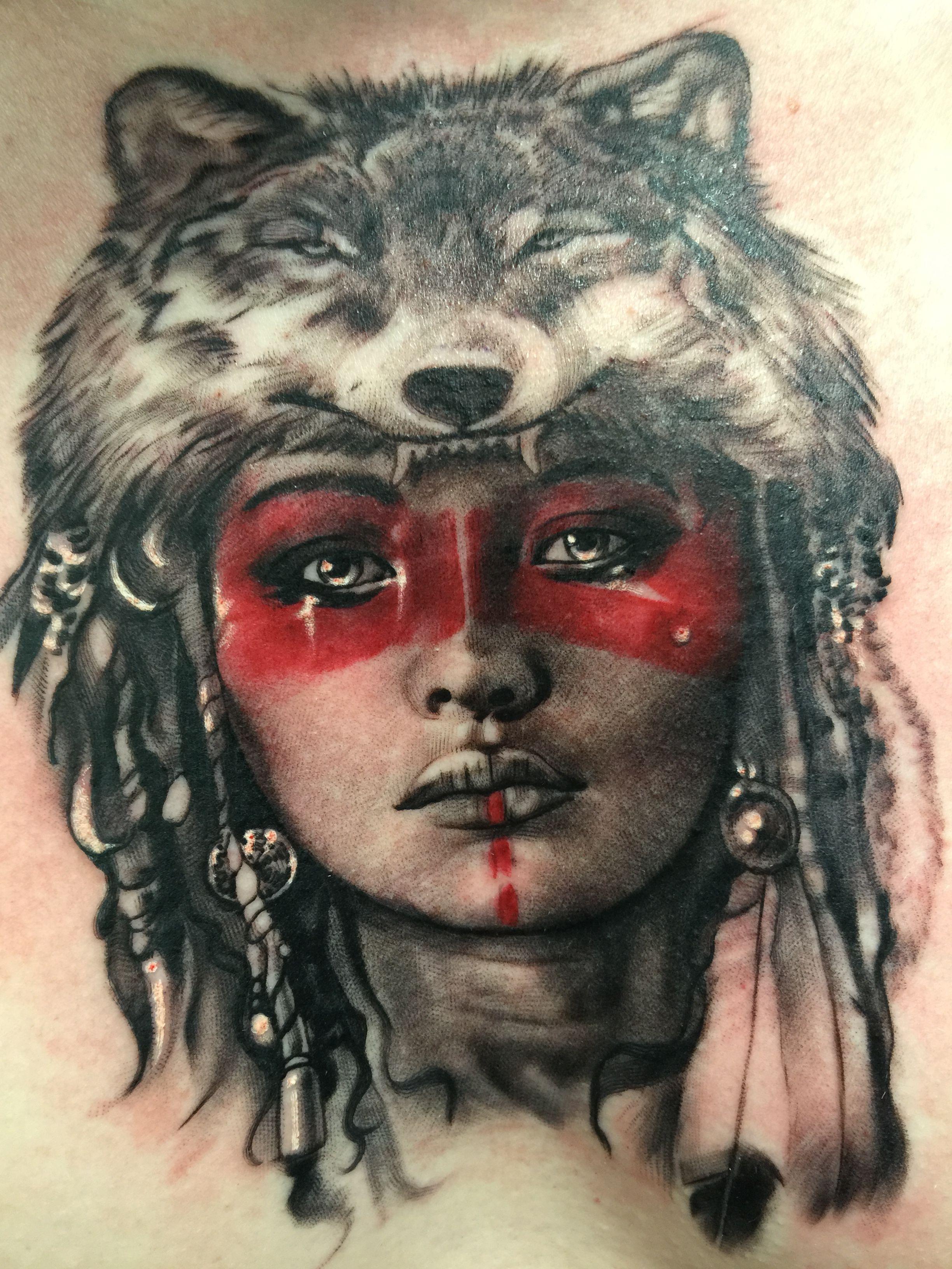 Indian girl warrior wolf skin pretty beautiful