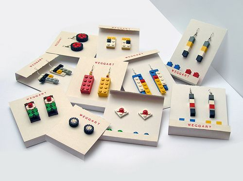 Lego Earrings Mix Cute and/or Artsy Lego jewelry, Diy