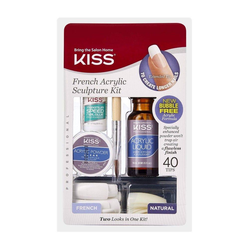 Kiss Bring The Salon Home French Acrylic Nail Kit Natural In 2020 Acrylic Nails At Home Acrylic Nail Kit Acrylic Nail Set