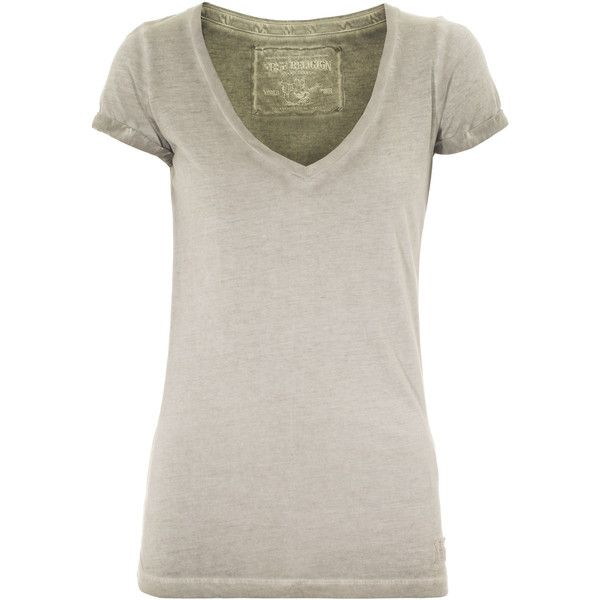 TRUE RELIGION CLEAN V Military COTTON BLEND T-SHIRT (57 CAD) found on Polyvore