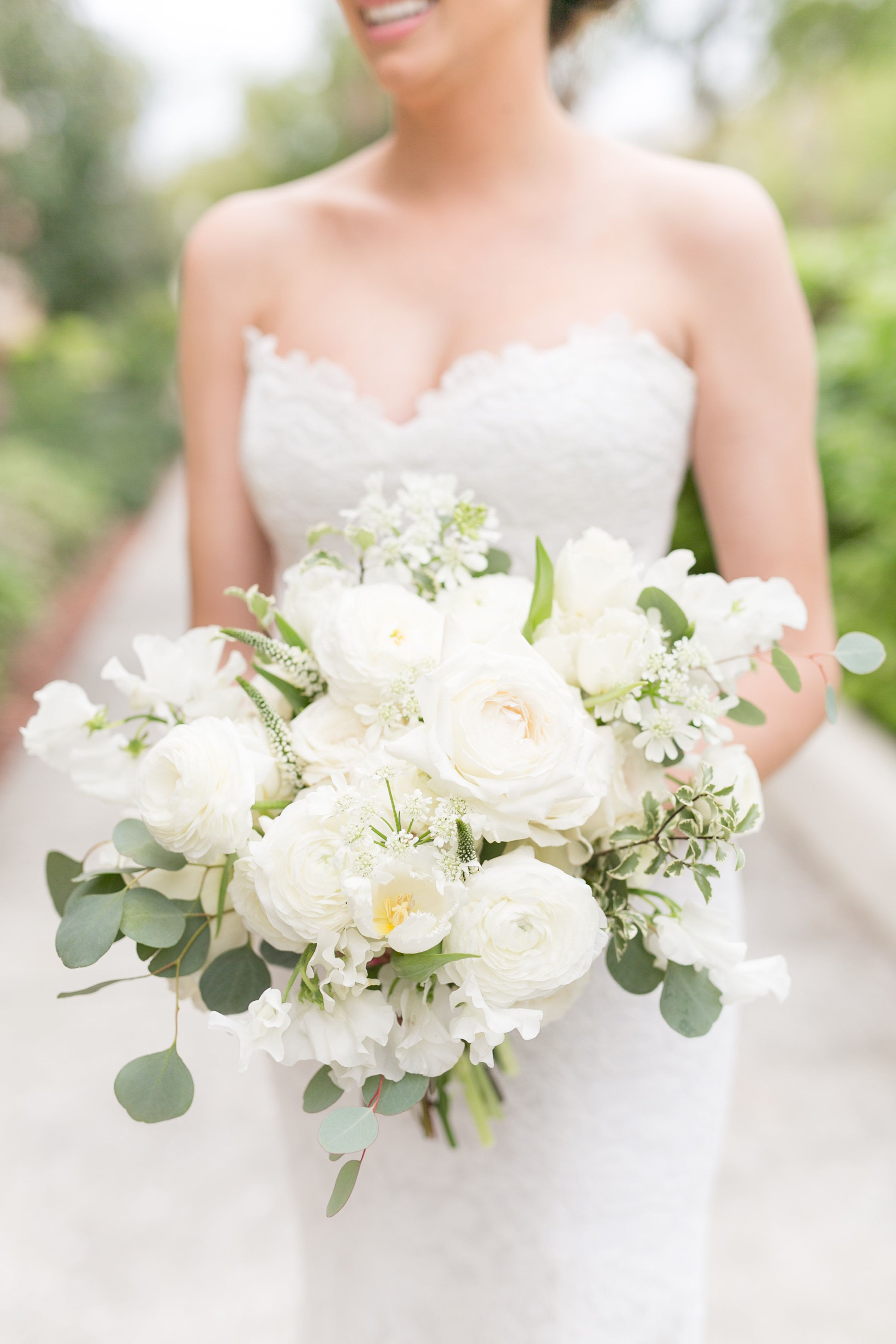 Loose And Organic Spring Bridal Bouquet Of White Ranunculus White