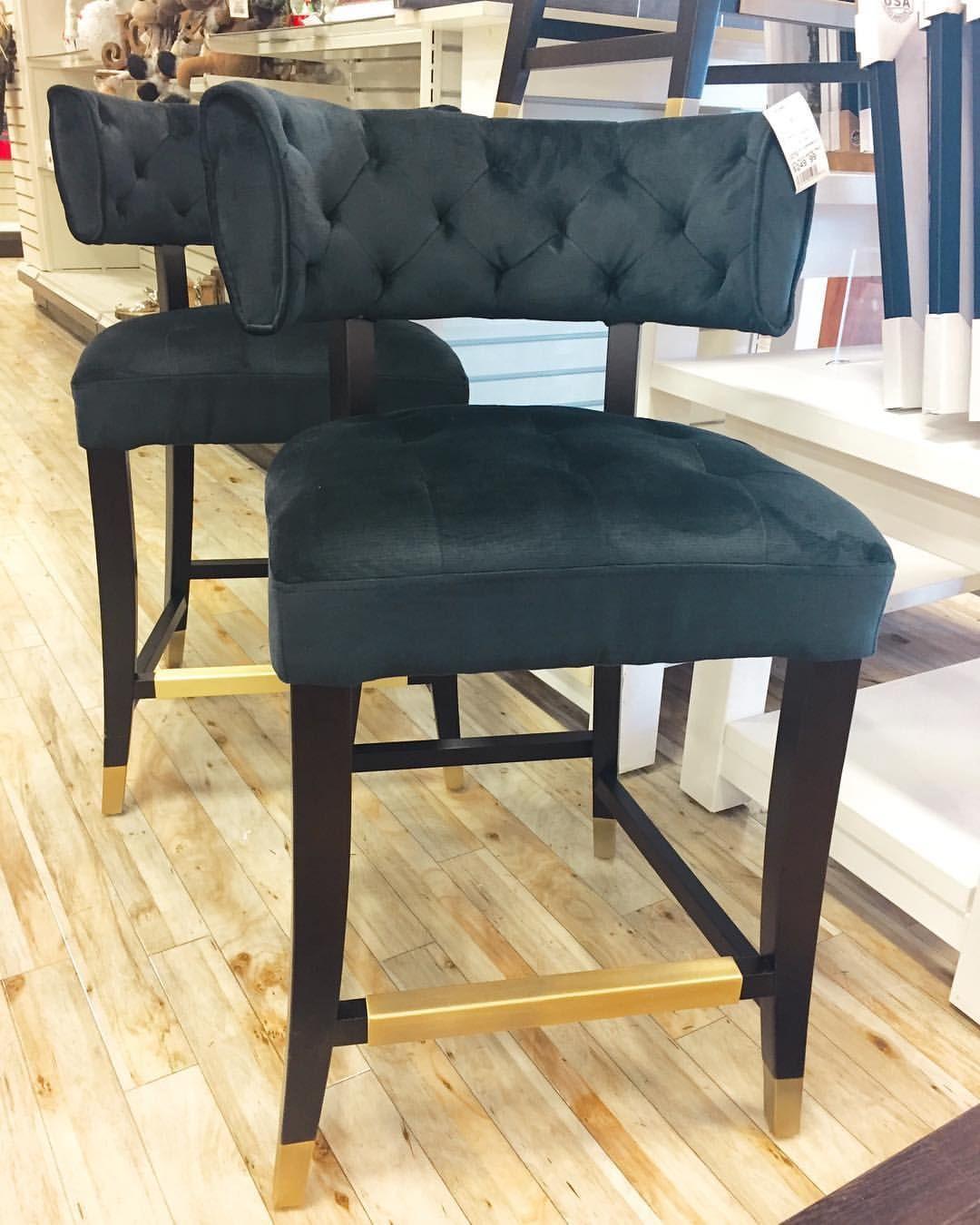 Homesense find a set of 4 black tufted bar stools with brass homesense find a set of 4 black tufted bar stools with brass capped feet and geotapseo Choice Image