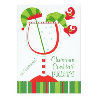 christmas elf cocktail party card - Christmas Cocktail Party Invitations
