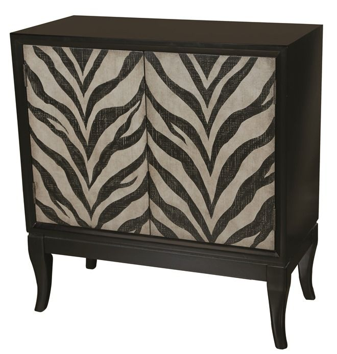 Zebra Animal Print Ivory Black Chest Cabinet Accentrics Home By Ski The Decorating Diva