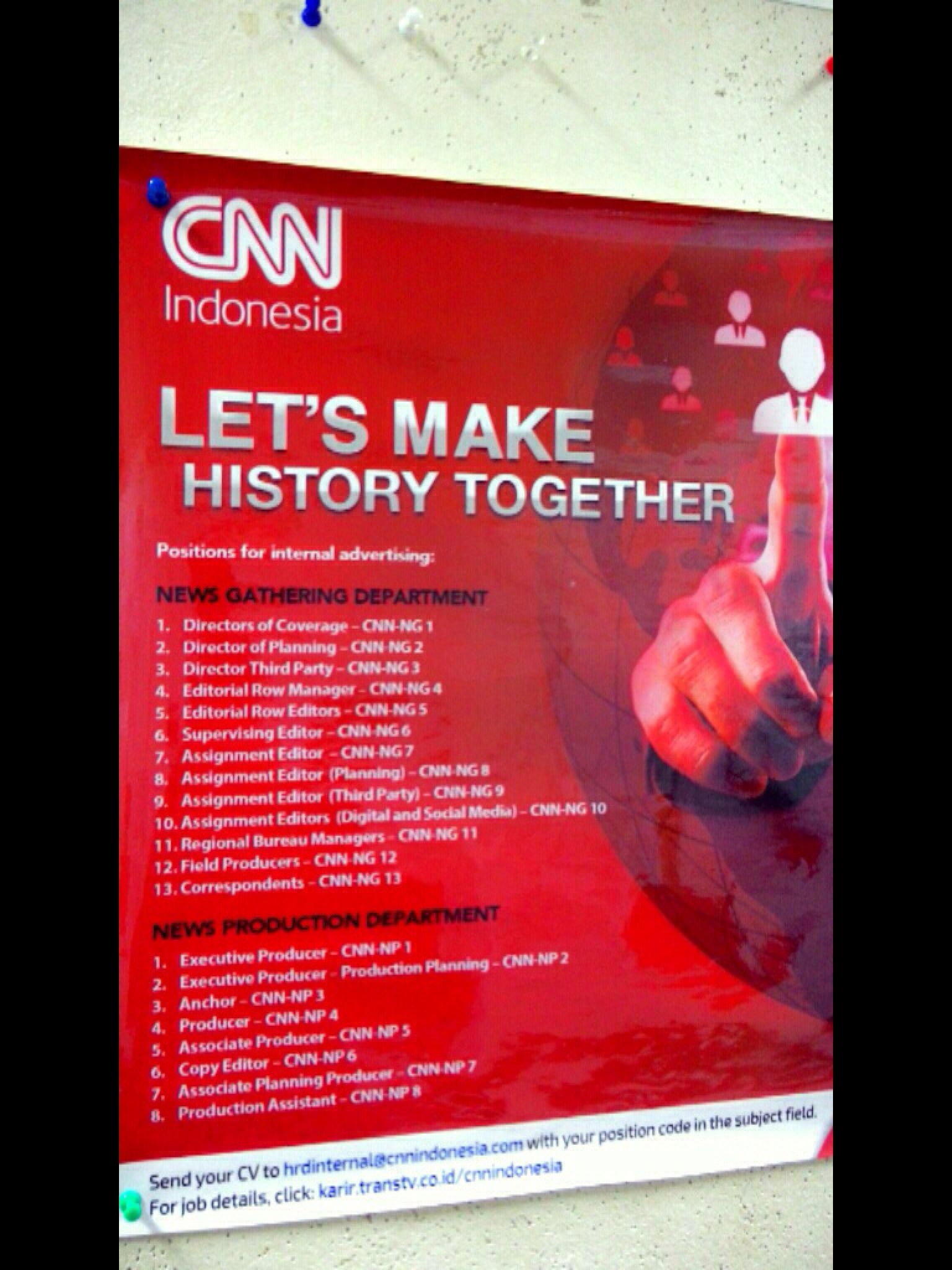 Job vacancy at CNN Indonesia | Job vacancy | Pinterest