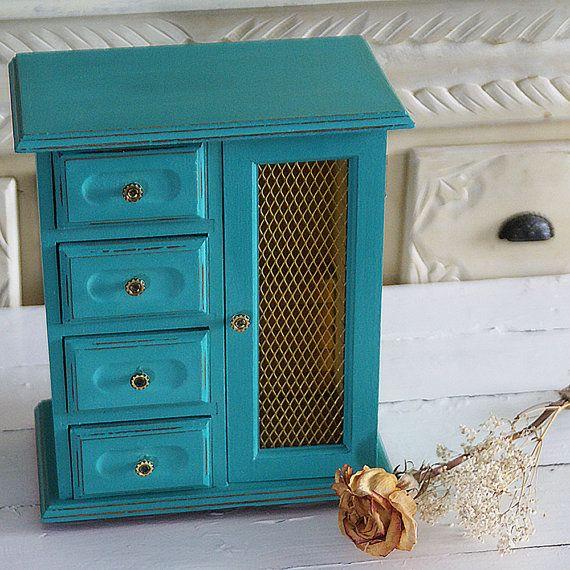 Boîte à bijoux Turquoise vintage, Coffre Shabby Chic, boîte à bijoux - comment peindre un vieux meuble
