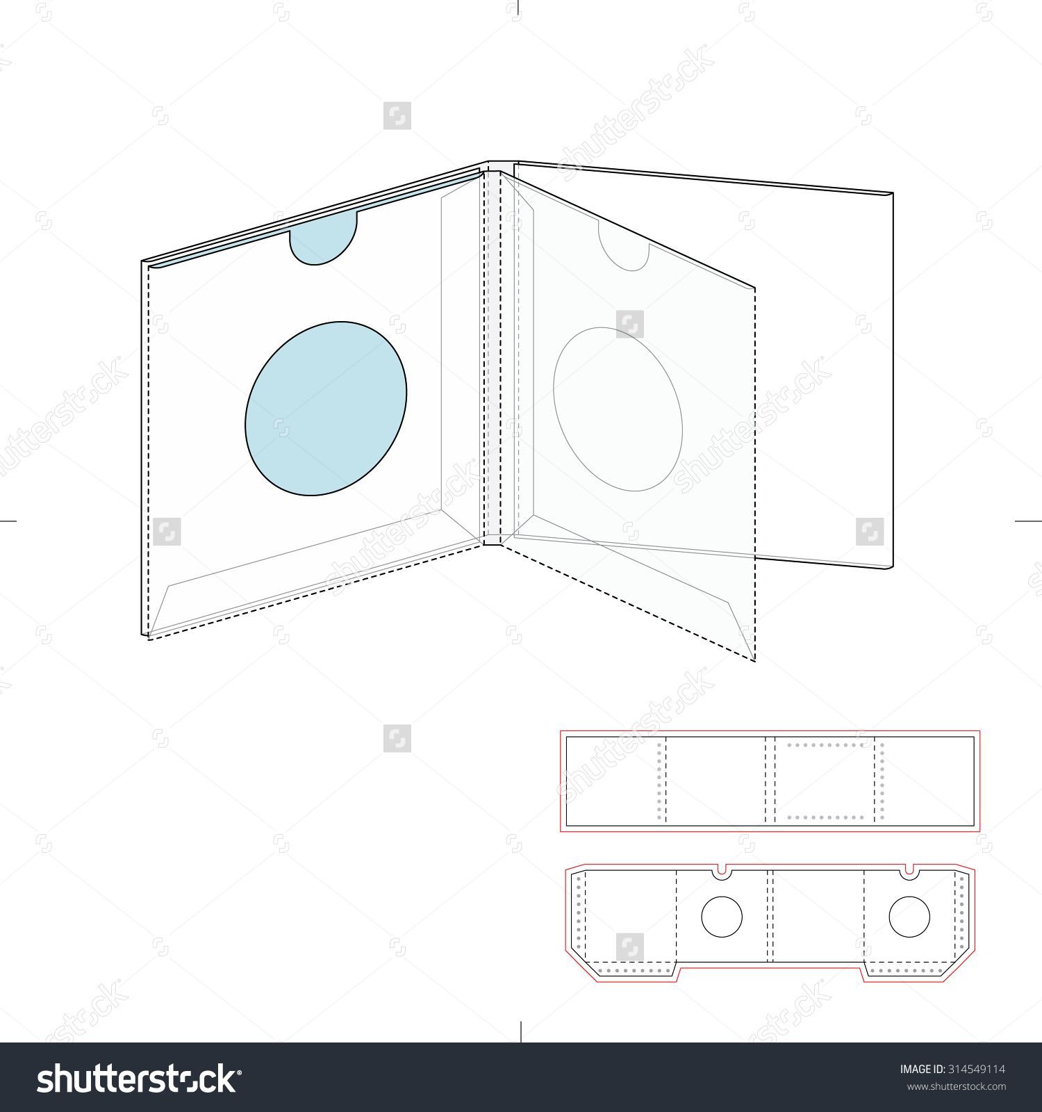 Cd & Dvd Brochure With Die Line Template Stock Vector Illustration ...