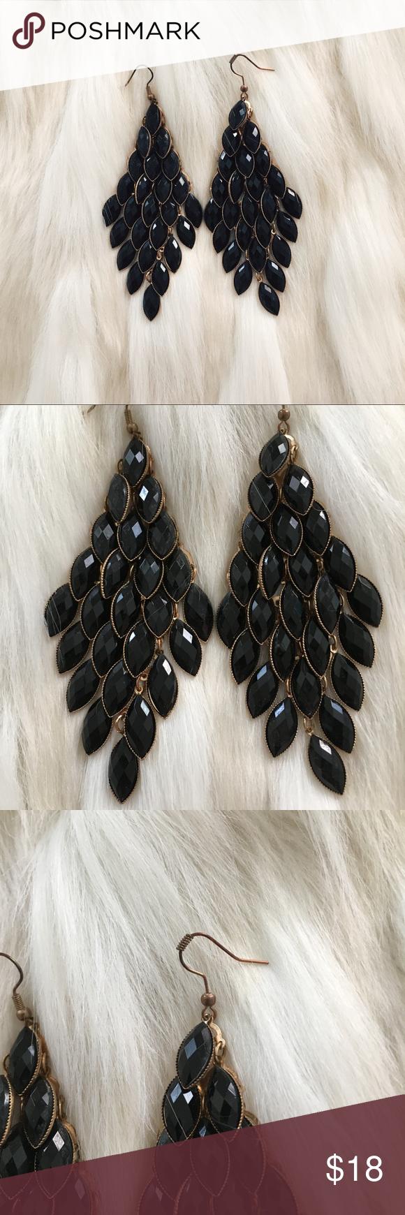 Black & gold jeweled chandelier earrings | Gold chandelier ...
