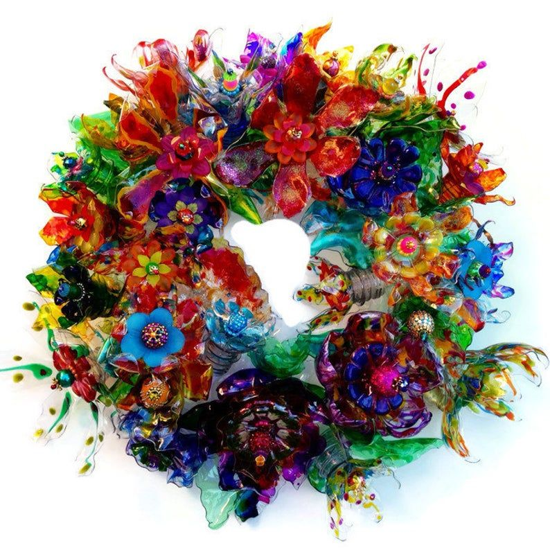 Peacock wreath, Recycled Plastic Bottle Art Peacock Flower Centerpiece, Green, Turquoise, Purple Wedding Decor, Unique Candle Ring