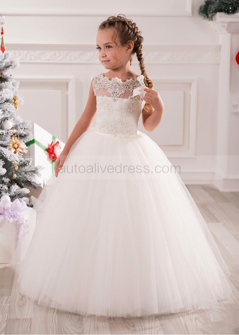 Tulle Floor Length Communion Dress