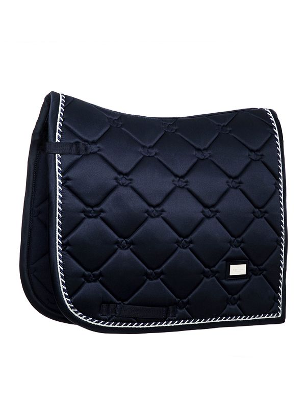 Our Luxury Dressage Saddle Pad In Shiny Navy Is Perfect For A Day Of Training The Saddle Pad Has Super Quick Dressage Saddle Pad Dressage Saddle Dressage Pad