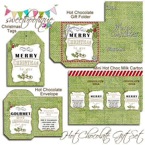 Hot Chocolate Gift Set - DIY - Digital File - Printable - Editable - INSTANT DOWNLOAD by SweetBootique on Etsy