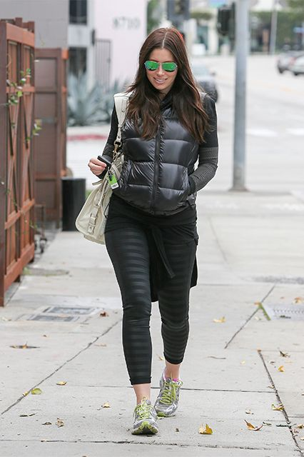 Jessica Biel Braving L.A.'s cold spell last month, the actress hid her burgeoning baby bump under a sleek puffer vest, and added striped leggings, mirrored sunnies, and running shoes. It's the perfect combination to stay toasty without weighing down your workout. (And, yeah, we'd be smiling too if we were carrying Timberlake spawn.)