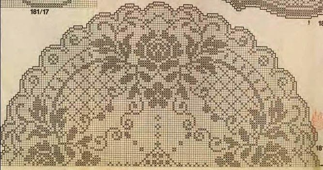 Complex crochet filet pattern round table cloth with roses free ...