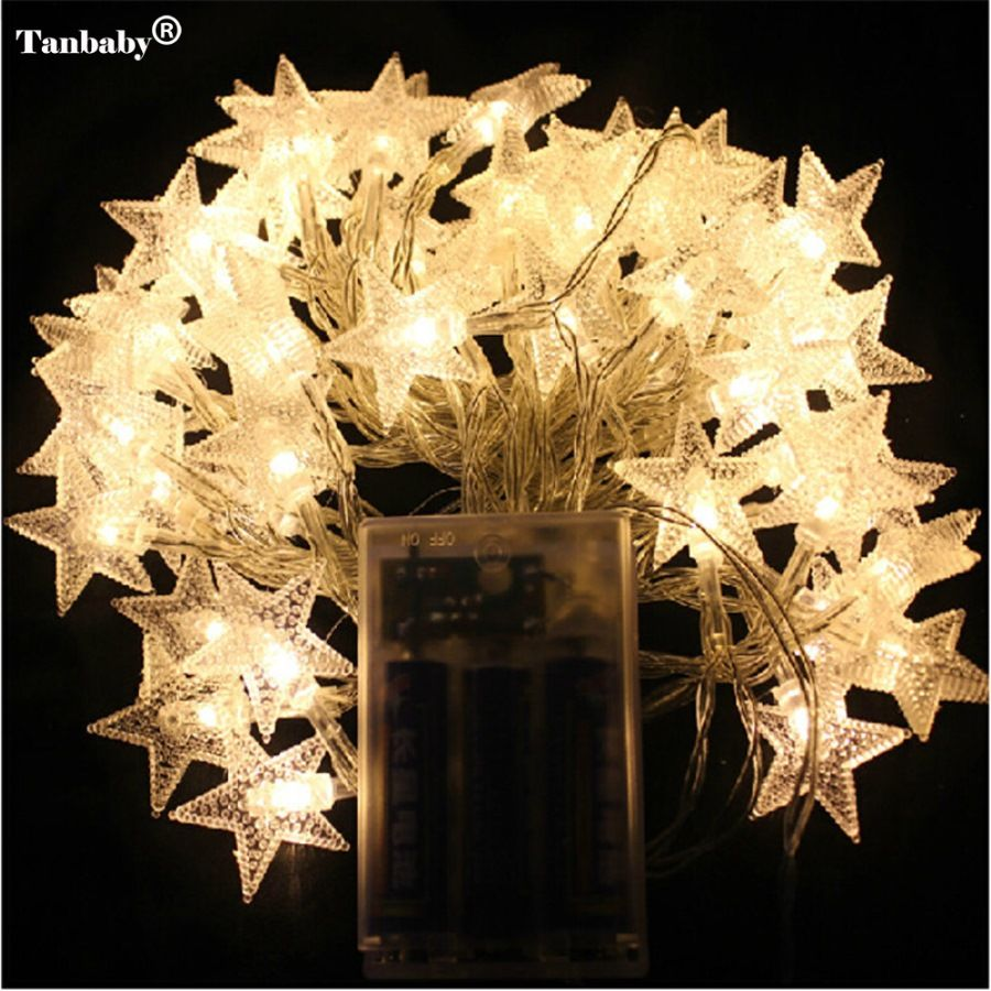 4M 40LEDs 3AA Battery Powered STAR Shaped Theme LED String Fairy ...