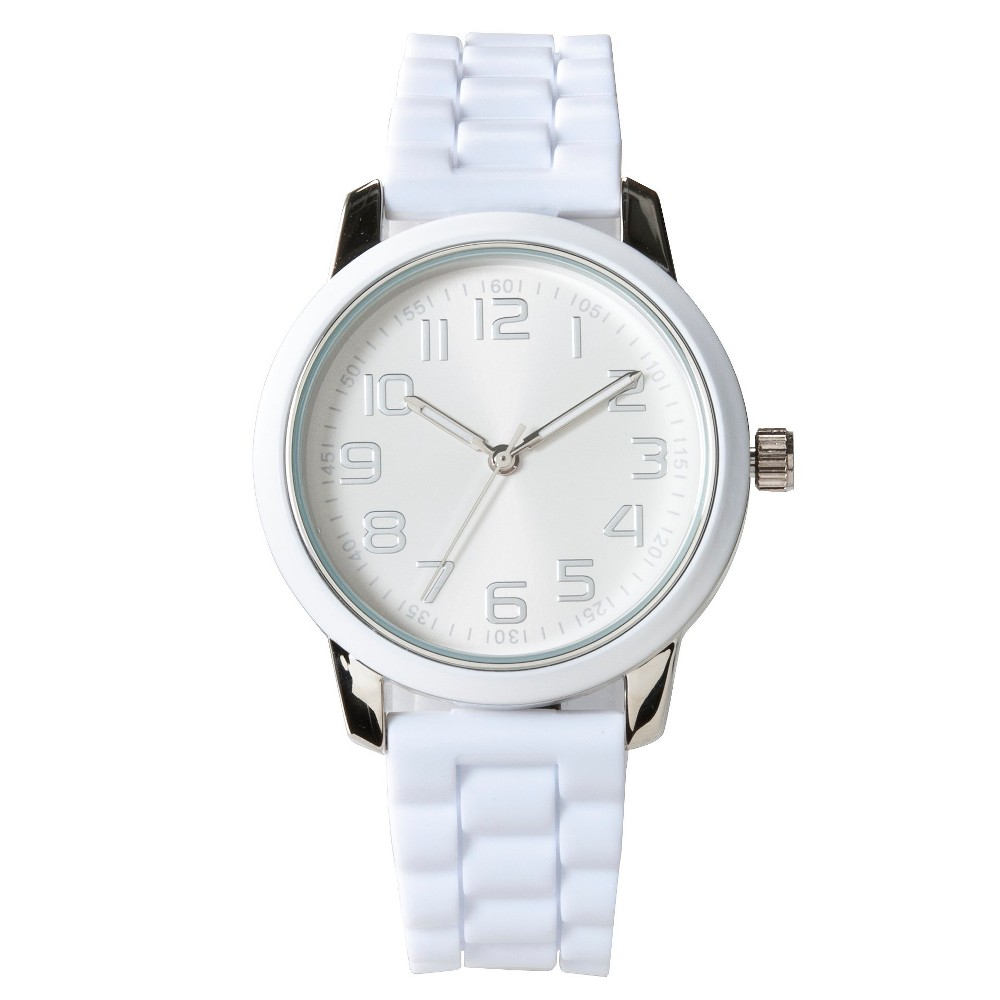 It's time to upgrade your accessories with the Women's Strap Watch in White by Xhilaration. This cool women's watch will earn rave reviews from everyone who sees it. Gender: Female. Age Group: Adult. Pattern: Solid.. Women's Strap Watch - White - Xhilaration time to upgrade your accessories with the Women's Strap Watch in White by Xhilaration. This cool women's watch will earn rave reviews from everyone who sees it. Gender: Female. Age Group: Adult. Pattern: Solid.. Women's Strap Watch - White - Xhilaration