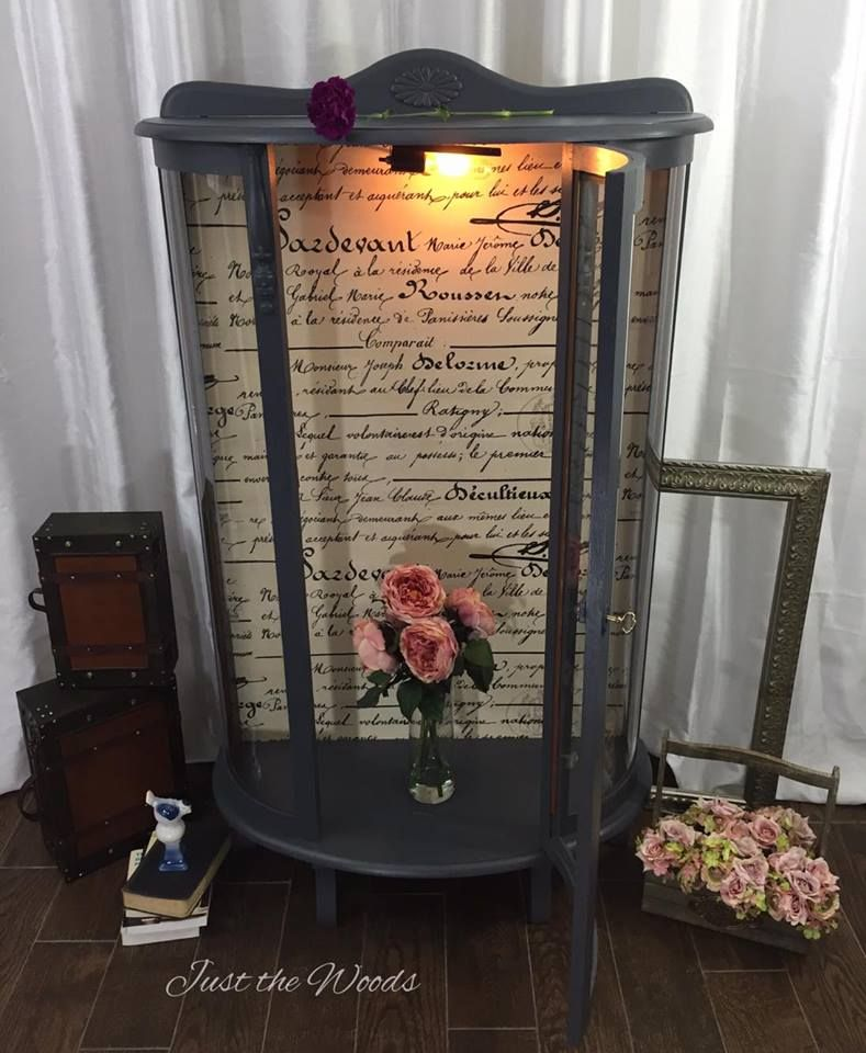 Vintage bow front curio cabinet painted and decoupage d