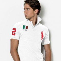 Custom Drapeau Polo RougeRalph Lauren Italie Fit Blanc Slim qUVpSzM