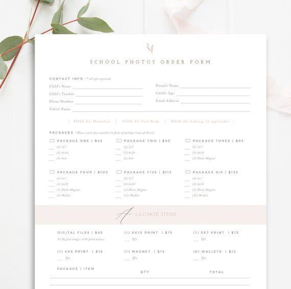School Photography Order Form, School Photographer Form
