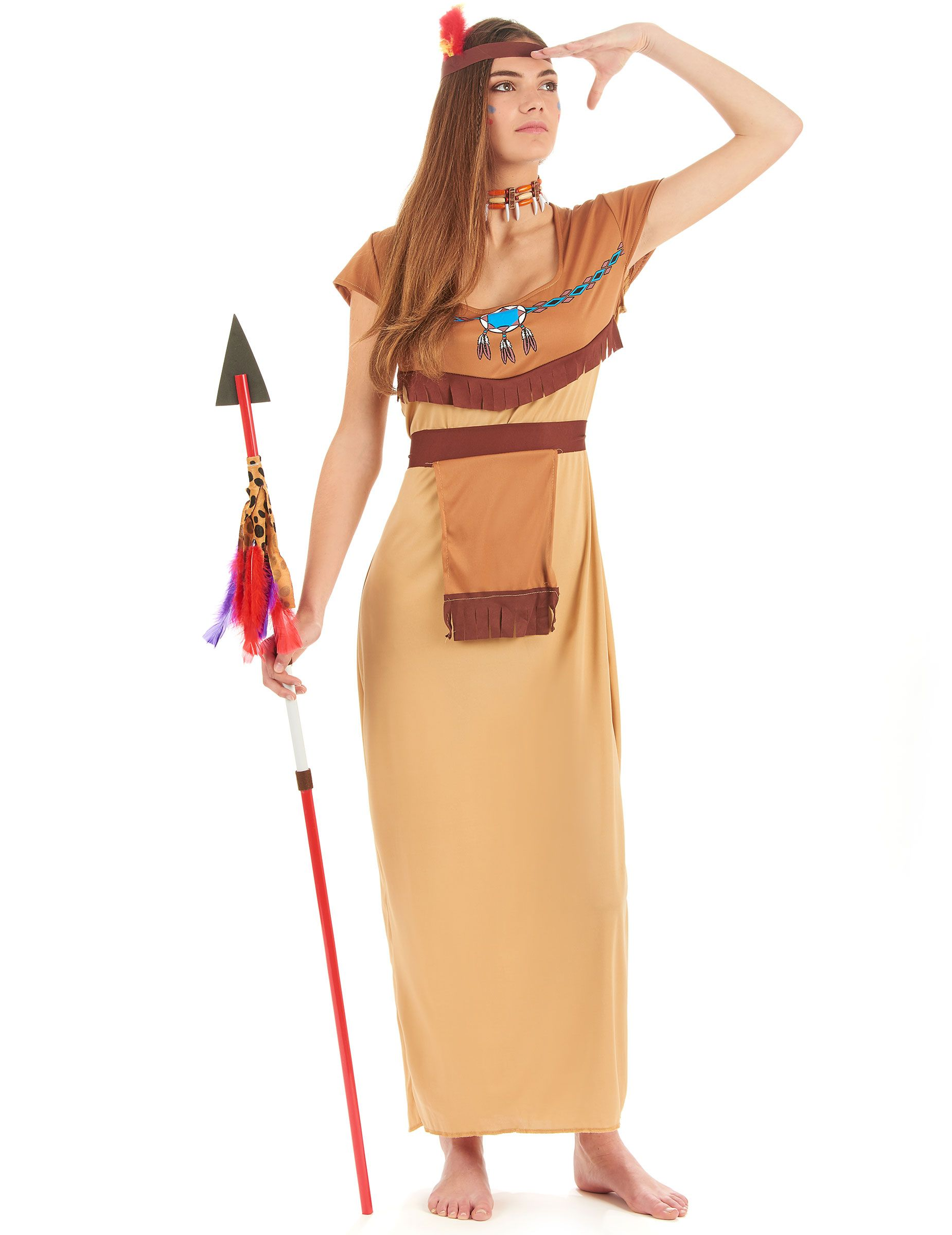 a7e6035d5553 Disfraz de india para mujer: Disfraz de india para mujer compuesto por un vestido  largo